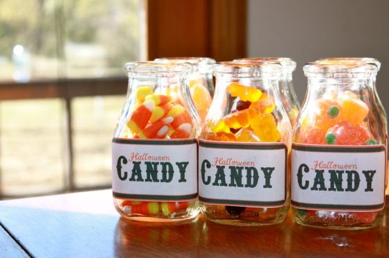 Amy made these labels that we taped over vintage milk bottles and filled with assorted candies.
