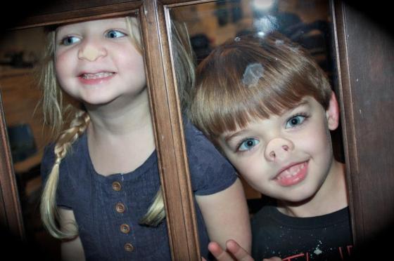 kids on glass